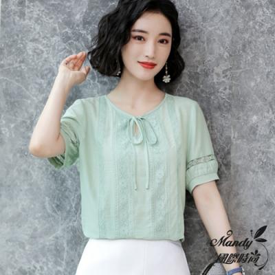 Mandy國際時尚 百搭洋氣大碼雪紡短袖上衣 (3色)【韓國服飾】