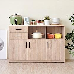 《HOPMA》DIY巧收摩登三門二抽二格廚房櫃-寬119 x深40 x高82cm