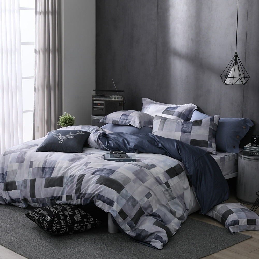 OLIVIA Picasso 灰 雙人全鋪棉床包兩用被套四件組 歐枕 精梳純棉 台灣製