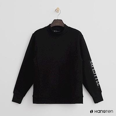 Hang Ten - 女裝 -貼布標語拼接立領上衣-黑