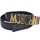 MOSCHINO 義大利製金色字母LOGO高質感牛皮皮帶(黑/44)