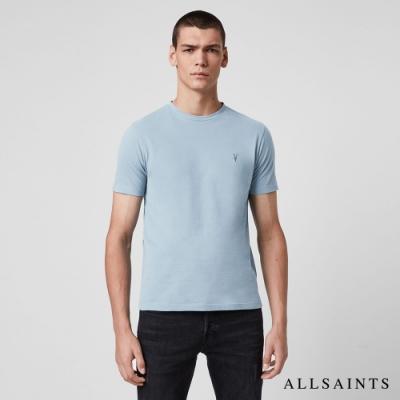 ALLSAINTS BRACE TONIC 公羊頭骨刺繡純棉修身短袖T恤-天藍