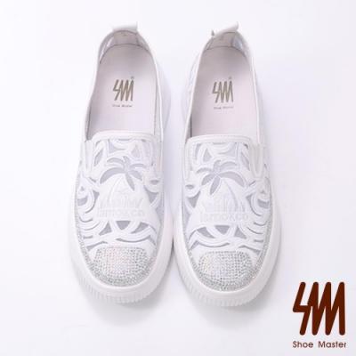 SM-獨特有型水鑽雕花網透氣懶人鞋