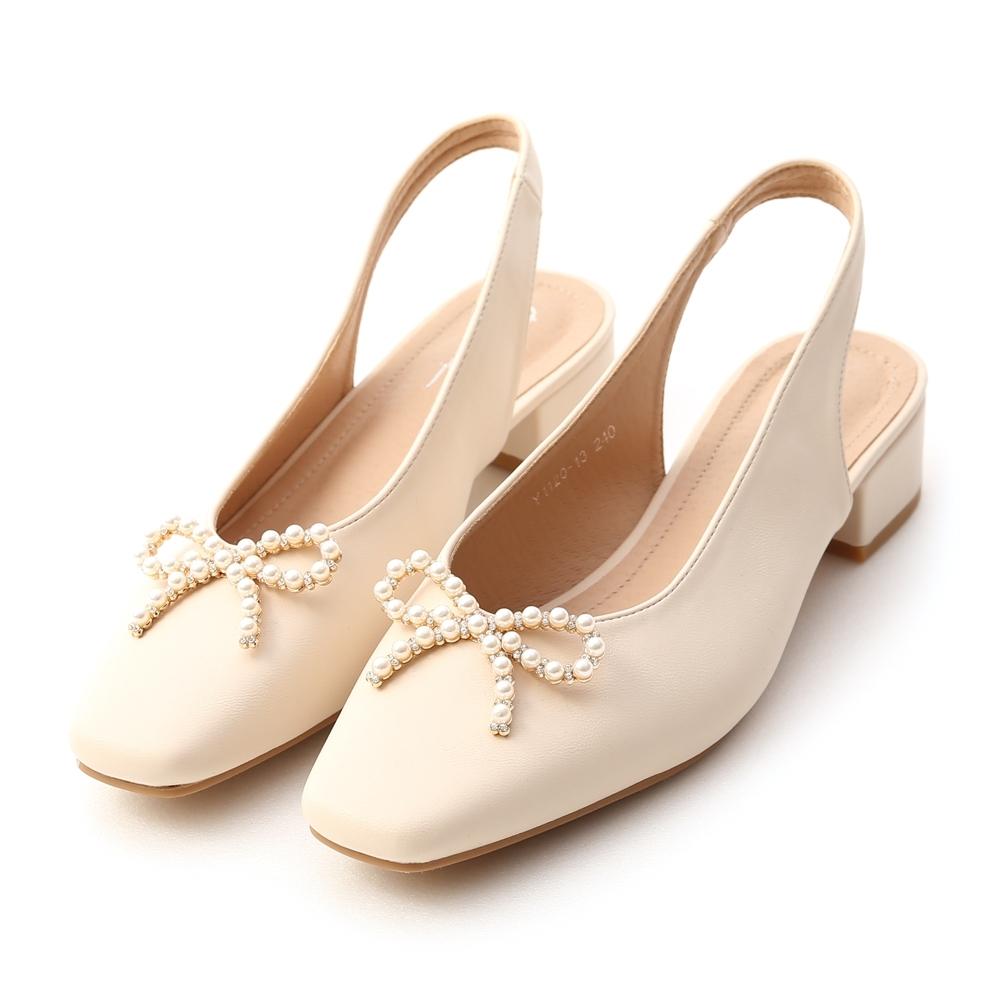 D+AF 完美小姐.珍珠蝴蝶結後空低跟鞋*白