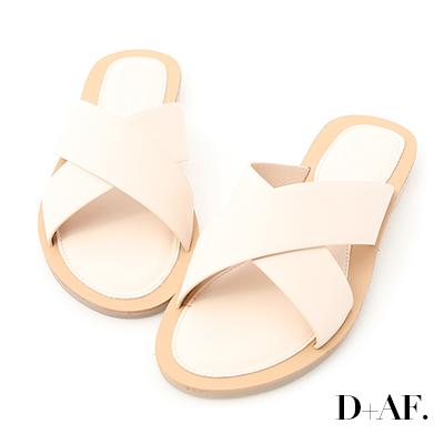 D+AF 愜意自在.寬版交叉粉彩平底拖鞋*米白