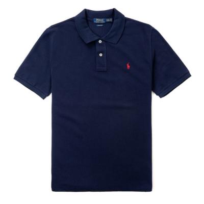 Polo Ralph Lauren 經典電繡小馬寬版短袖Polo衫(Custom)-深藍色