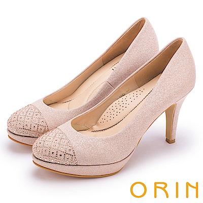 ORIN 晚宴婚嫁首選 浪漫水鑽金蔥高跟鞋-粉色