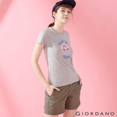 GIORDANO 女裝SUN AND SEA系列印花短袖T恤-81 中花灰