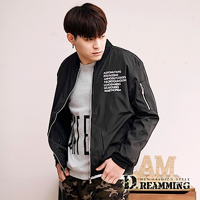 Dreamming 酷炫字母防風飛行夾克外套-黑色