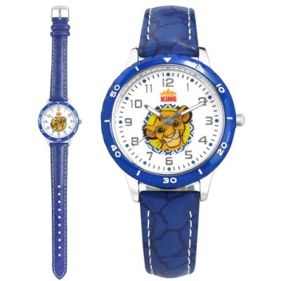 Disney 迪士尼 獅子王 辛巴面板 兒童錶 卡通錶 紋路皮革手錶-白x藍/32mm