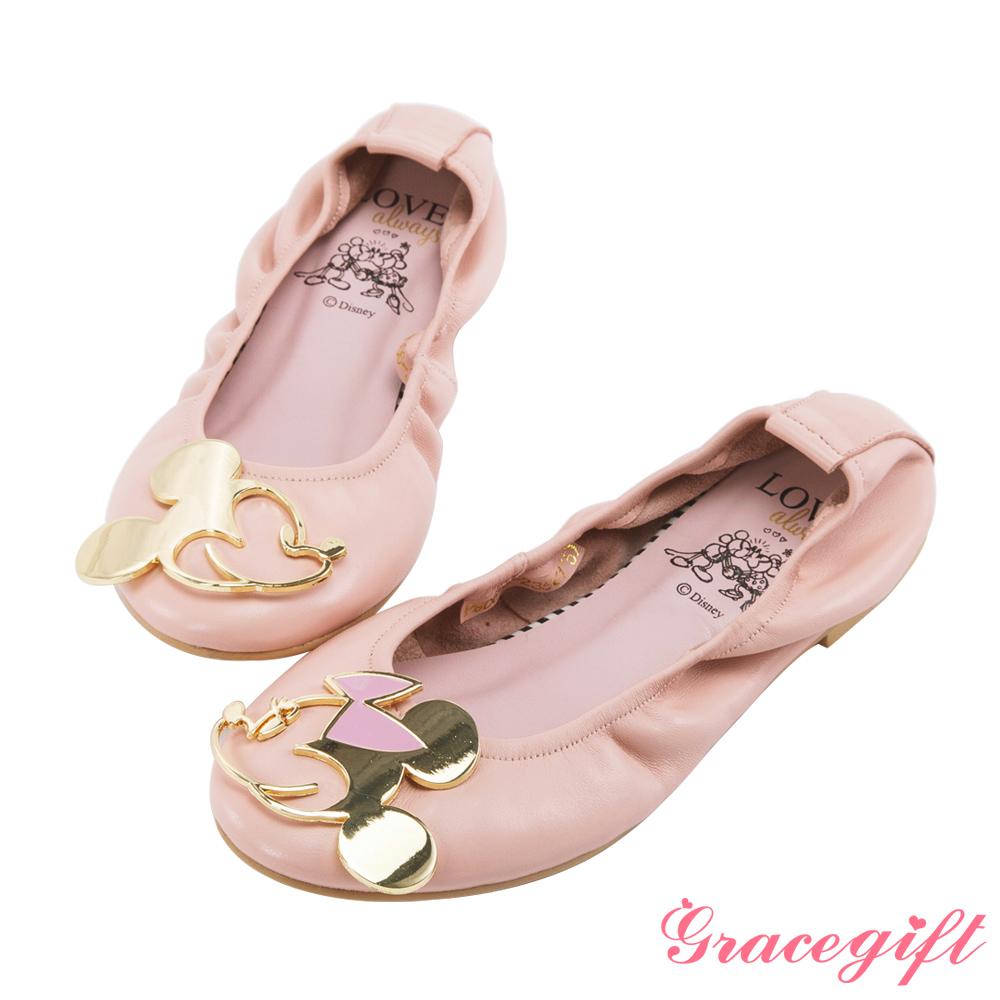 Disney collection by grace gift-飾釦摺疊娃娃鞋 粉
