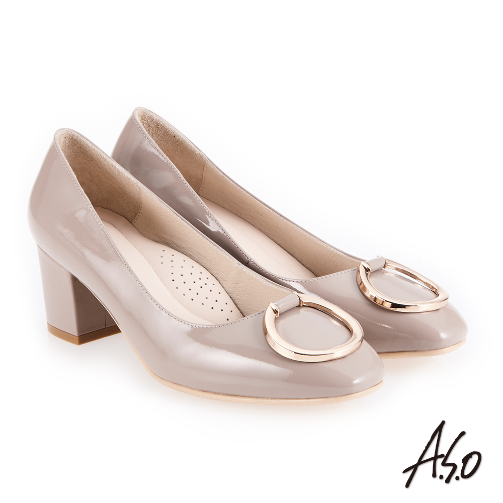 A.S.O 義式簡約 立體釦飾鏡面真皮高跟鞋 沙