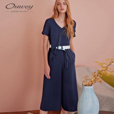 OUWEY歐薇 百搭V領收腰長版連身寬褲(藍)