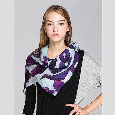 ELLE抽象印花時尚優雅羊毛圍巾_藍/咖