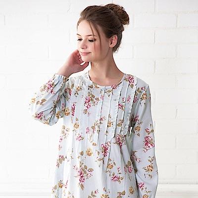 羅絲美睡衣 - 玫瑰心語長袖洋裝睡衣(水藍色)