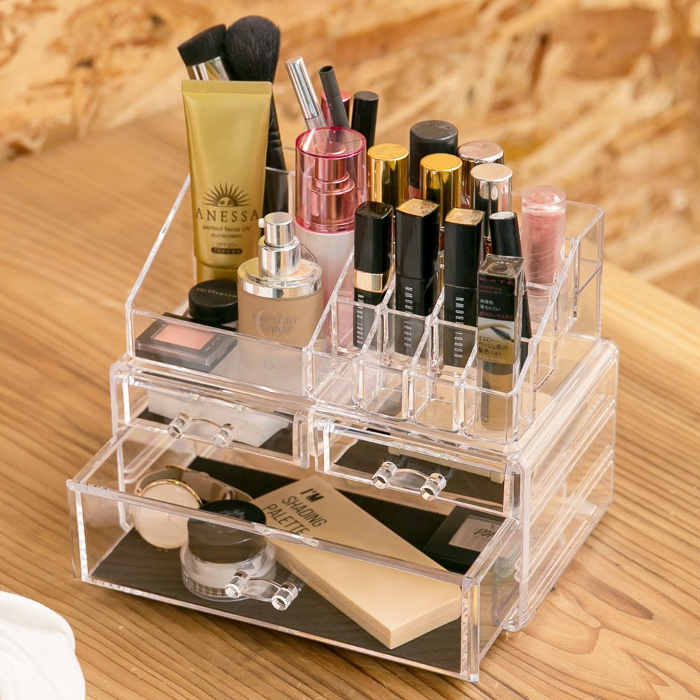 IDEA-透明壓克力雙層多格化妝品小物收納盒