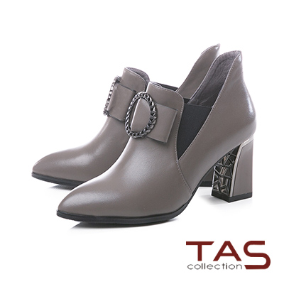 TAS金屬圓飾蝴蝶結牛皮高跟短靴–冬季灰