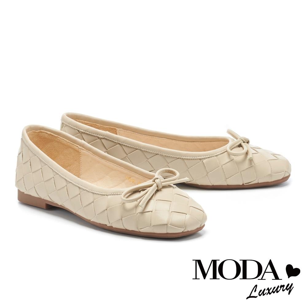 低跟鞋 MODA Luxury 舒適優雅蝴蝶結編織造型方頭娃娃低跟鞋-米