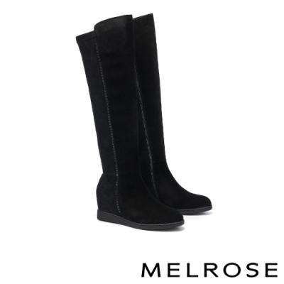 長靴 MELROSE 現代時尚晶鑽異材質拼接美型內增高長靴-黑