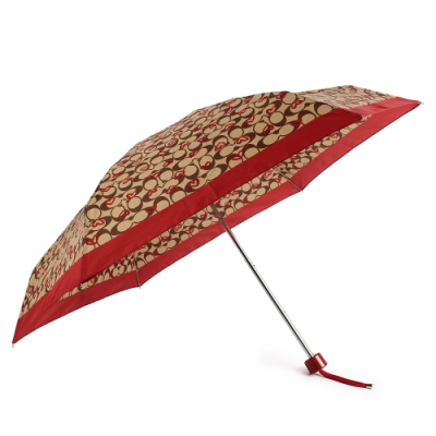 COACH 經典滿版C LOGO愛心塗鴉晴雨傘-咖啡/紅色