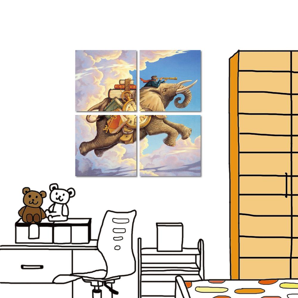 橙品油畫布 多聯式方形 無框畫小孩房-與飛象旅行30x30cm