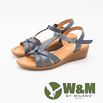 W&M 優雅繞帶楔型涼鞋 女鞋-藍(另有紅)