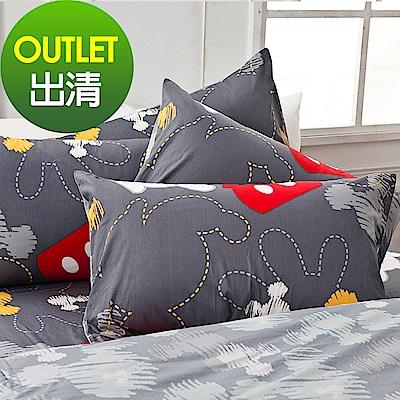 戀家小舖 / 雙人加大床包被套組  米奇塗鴉  100%精梳棉  台灣製