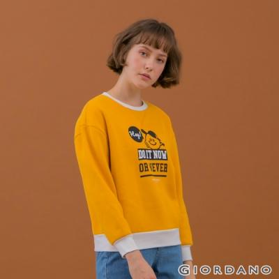 GIORDANO   女裝YOUTH大學T恤 - 51 蜜黃