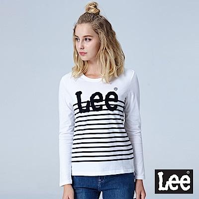 Lee LEE條紋LOGO長袖圓領Tee-白色
