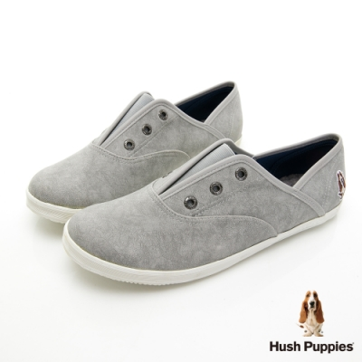 Hush Puppies 熱銷基本款咖啡紗皮質懶人鞋-灰色
