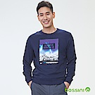 bossini男裝-印花厚棉運動衫08海軍藍
