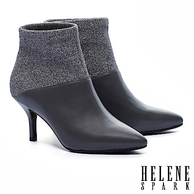 短靴 HELENE SPARK 摩登時尚異材質拼接羊皮尖頭高跟短靴-灰