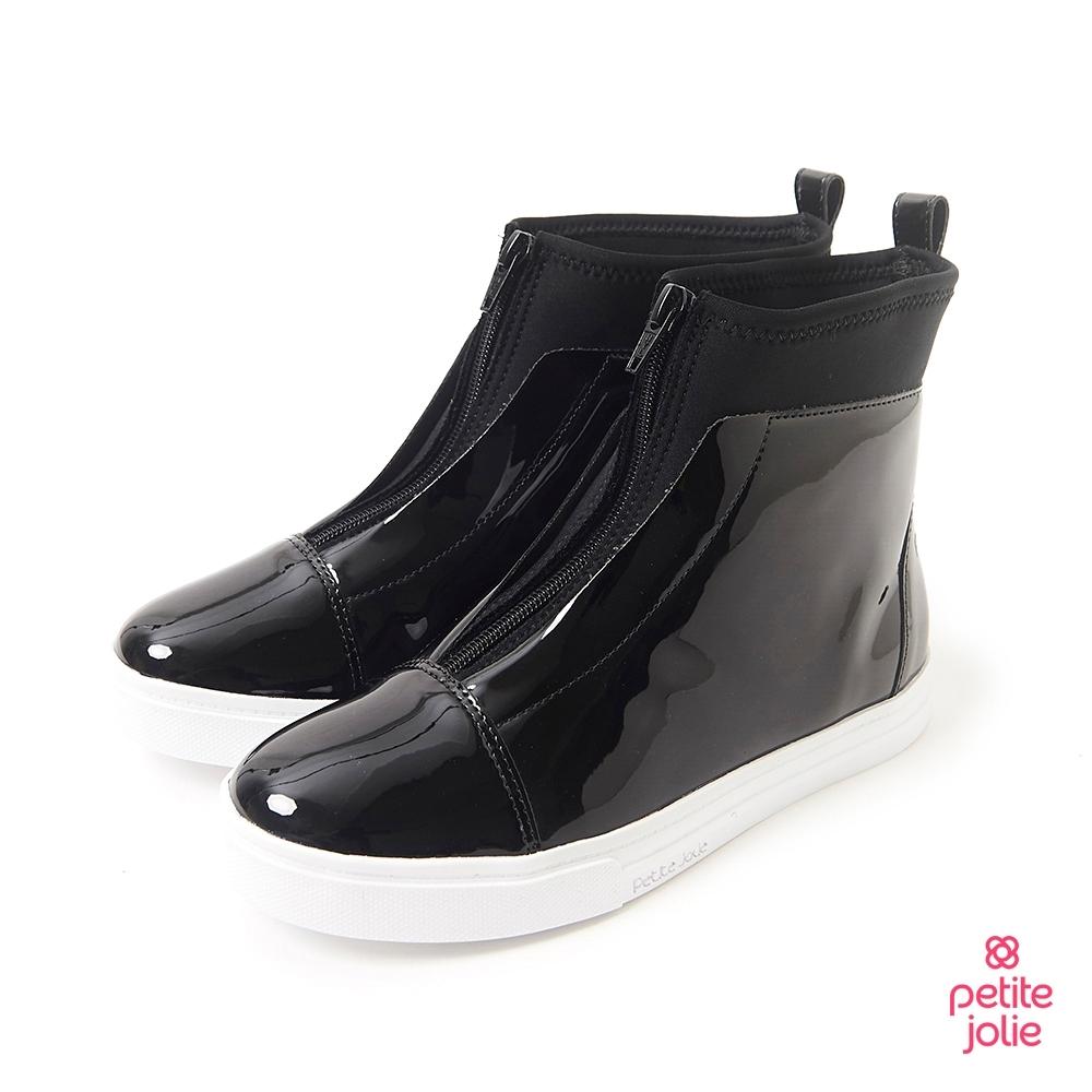 Petite Jolie-經典拼接厚底靴-黑色