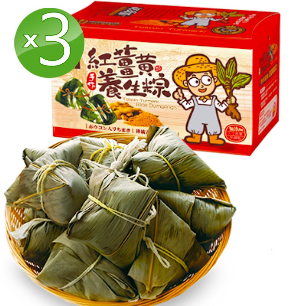 豐滿生技 紅薑黃干貝相撲養生粽3盒組(4入/盒;210g/顆)端午限定