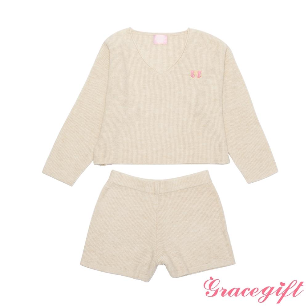 Grace gift-美戰圖案針織套裝 米白