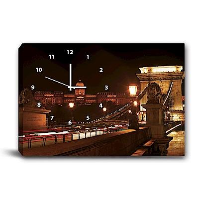 美學365-單聯式橫幅 掛鐘無框畫-夜晚-60x40cm