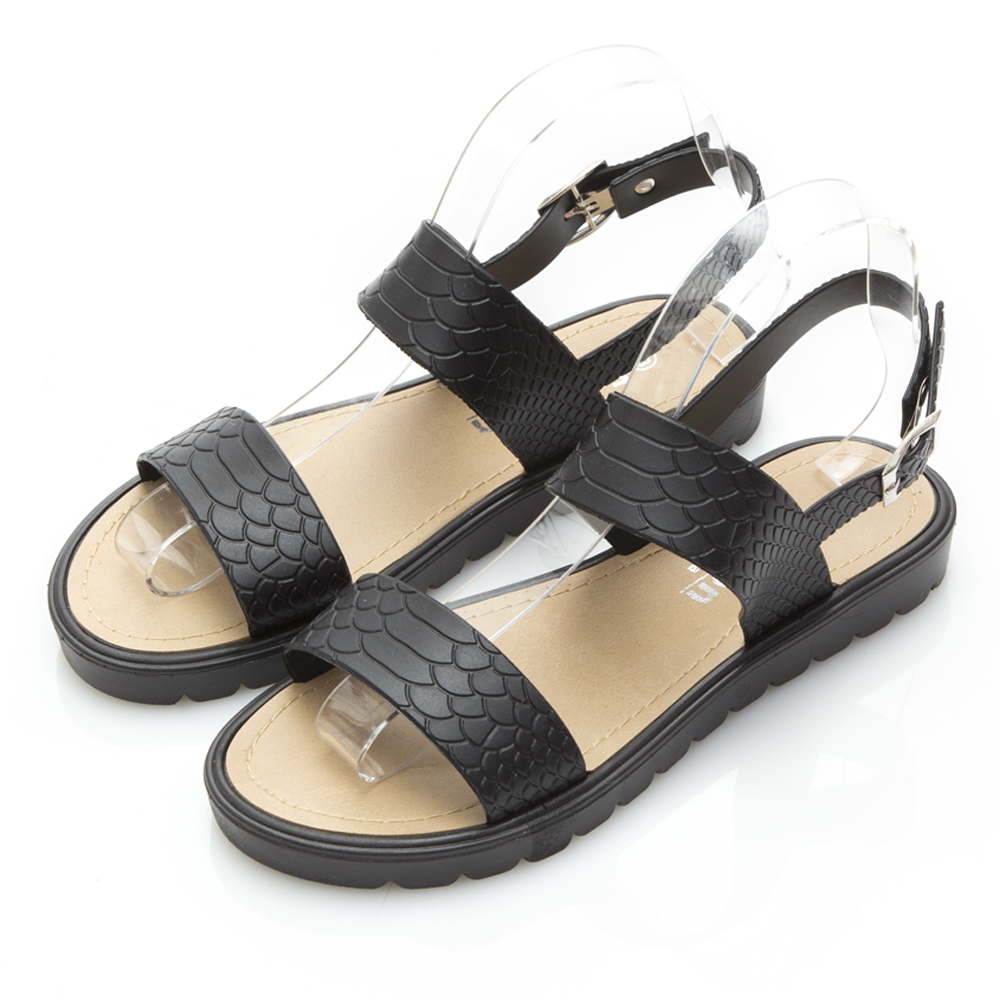 JMS-雨天剋星防水一字帶簡約PU防水涼鞋-黑色