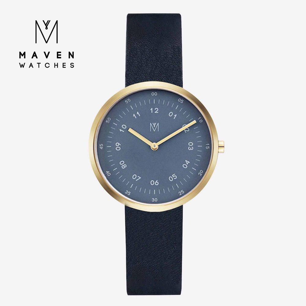 MAVEN WATCHES 匠藝錶款 34mm (金框海軍藍錶面/黑皮革)