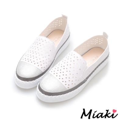 Miaki-休閒鞋潮流必買拼色懶人鞋-白