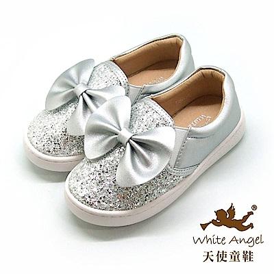 天使童鞋 俏麗亮點大蝴蝶休閒鞋(中-大童) D8038B-銀