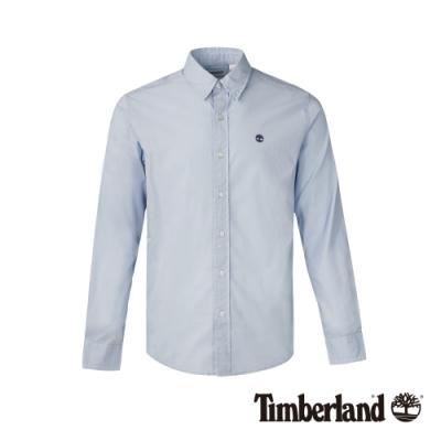 Timberland 男款寧靜藍修身彈性長袖襯衫 A1LSN