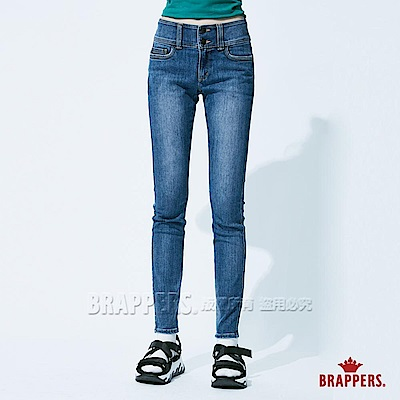 BRAPPERS 女款 美尻系列-中高腰彈性窄管褲-藍