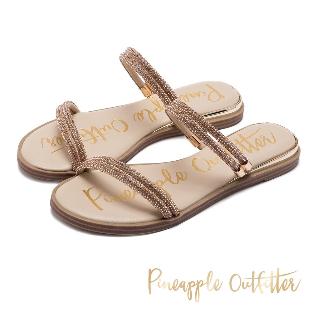 Pineapple Outfitter 閃亮鑽搭配金屬綴飾 雙細帶平底拖鞋-金銅