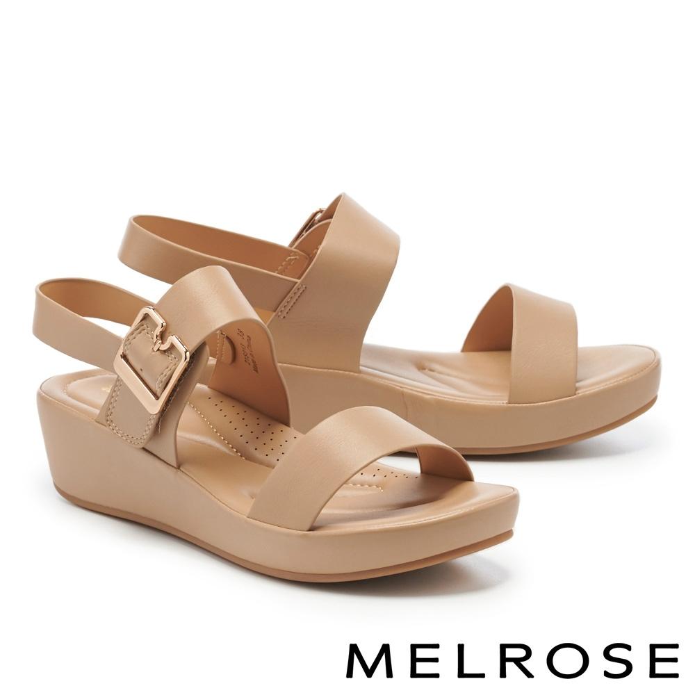 涼鞋 MELROSE 極簡時尚一字繫帶楔型涼鞋-杏