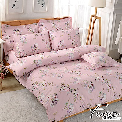 FOCA 含花弄影-100%雪絨棉單人薄床包枕套二件組-頂級活性印染