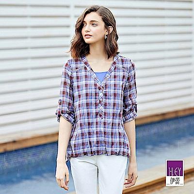ILEY伊蕾 金蔥復古格紋寬版上衣(紫)
