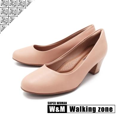 WALKING ZONE SUPER WOMAN系列 圓頭素面中跟淑女鞋上班鞋 女鞋- 卡其(另有黑.藍)