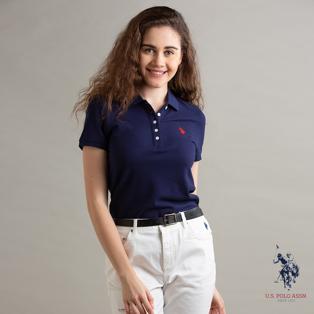 U.S. POLO ASSN. 女小馬短袖POLO衫-藏藍色