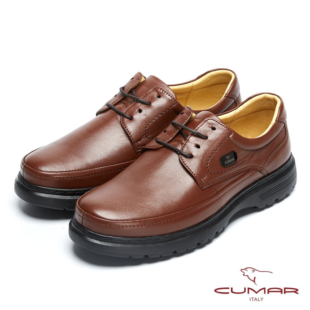 CUMAR舒適真皮 萬年不敗款綿羊綁帶皮氣墊鞋-咖