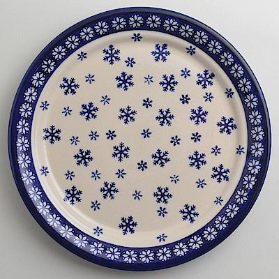 【波蘭陶 Zaklady】 雪白冰花系列 圓形餐盤 25cm 波蘭手工製